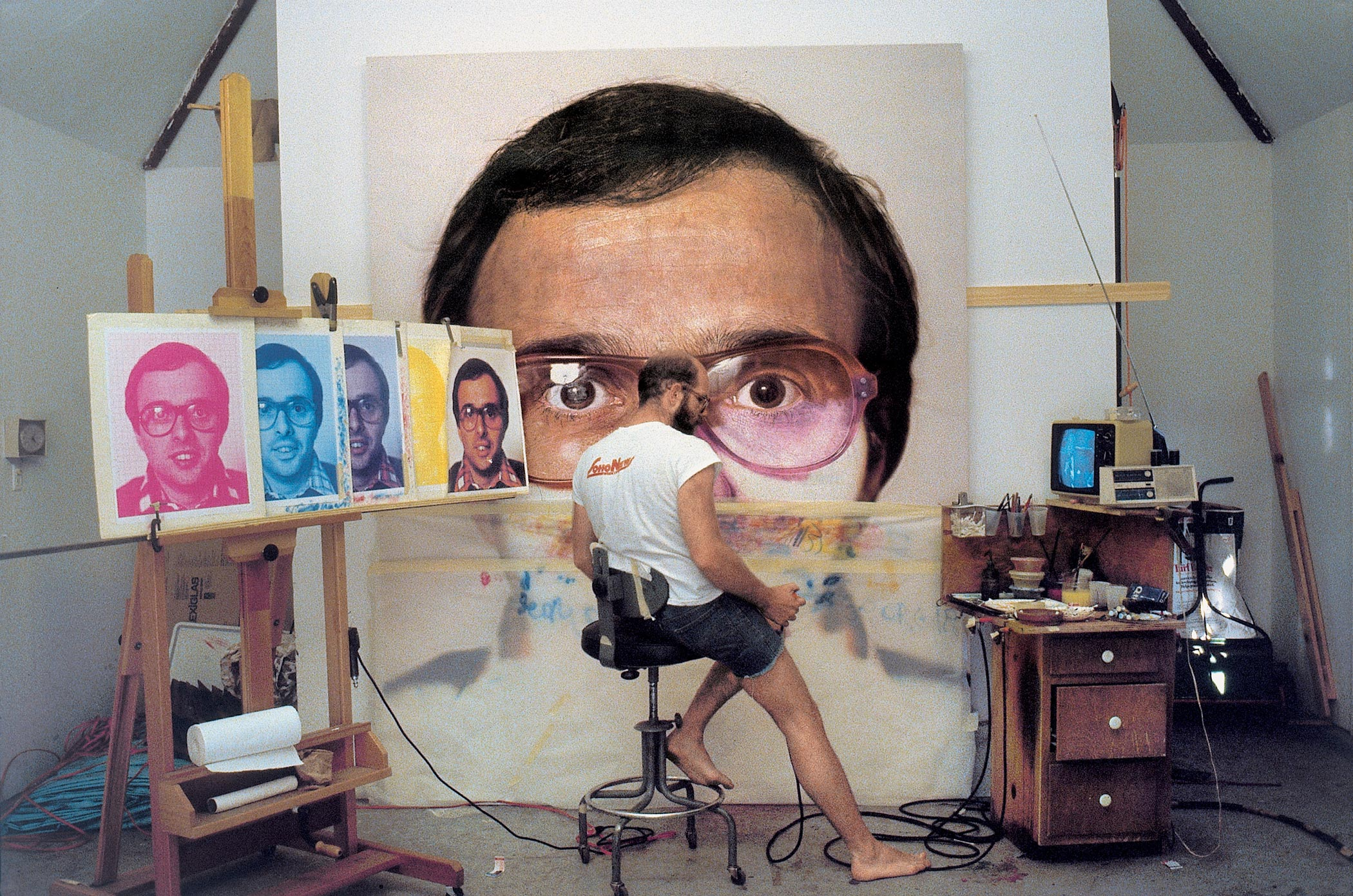 Chuck Close in his studio