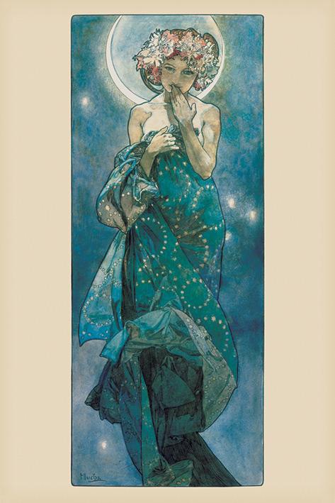 Mucha: Moon Portrait Poster