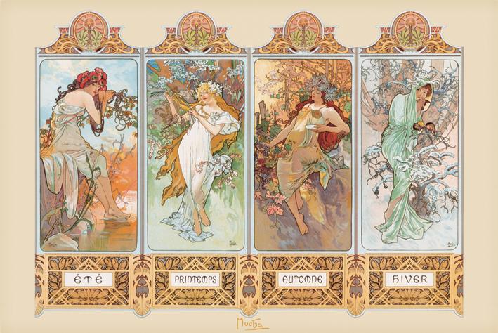 Mucha: 4 Seasons Landscape Poster