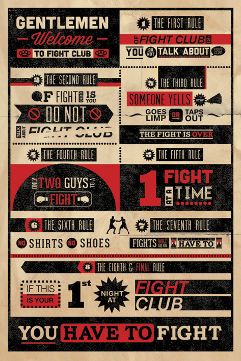 Fight Club: The Rules Infographic Portrait Poster