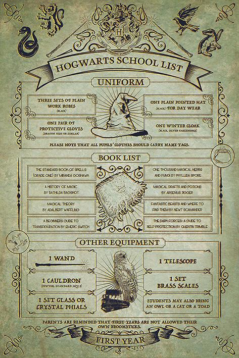 Harry Potter: Hogwarts School List Portrait Poster