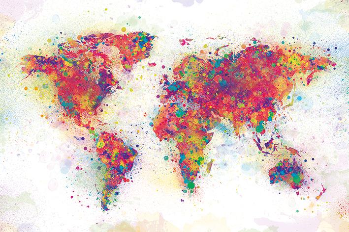 World Map: Colour Splash Landscape Poster