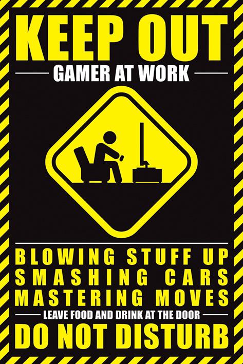 Gamer At Work Portrait Poster