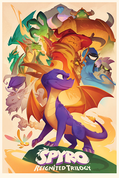Spyro: Animated Style Portrait Poster