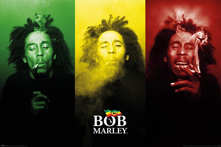 Bob Marley: Tricolour Smoke Landscape Poster