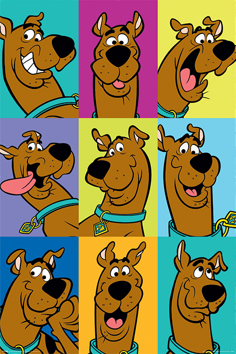 The Many Faces of Scooby Doo Portrait Poster