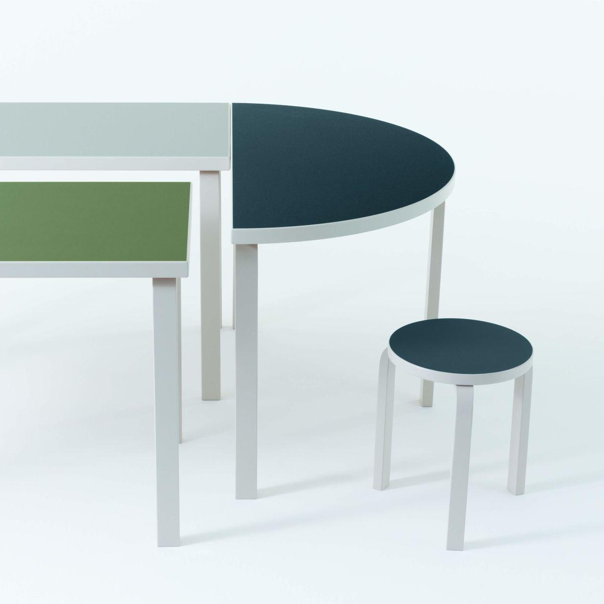 Aalto Table rectangular 80A Aalto Table half-round 95 Stool 60 stone white lacquer
