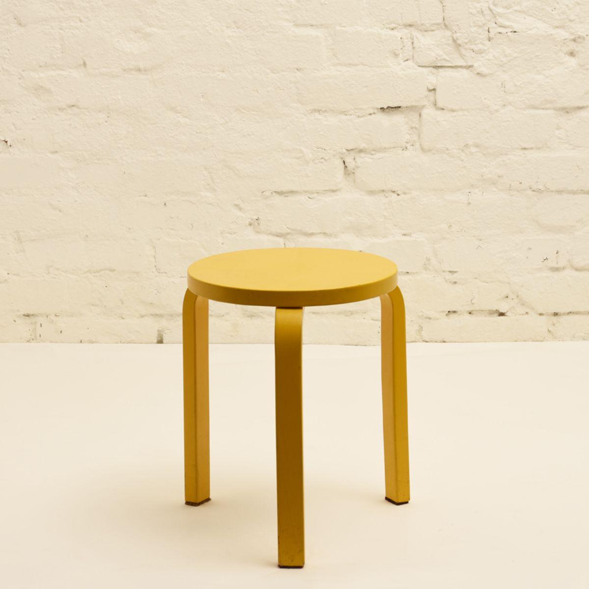 Aalto Alvar Stool 60 Yellow Paint Legs