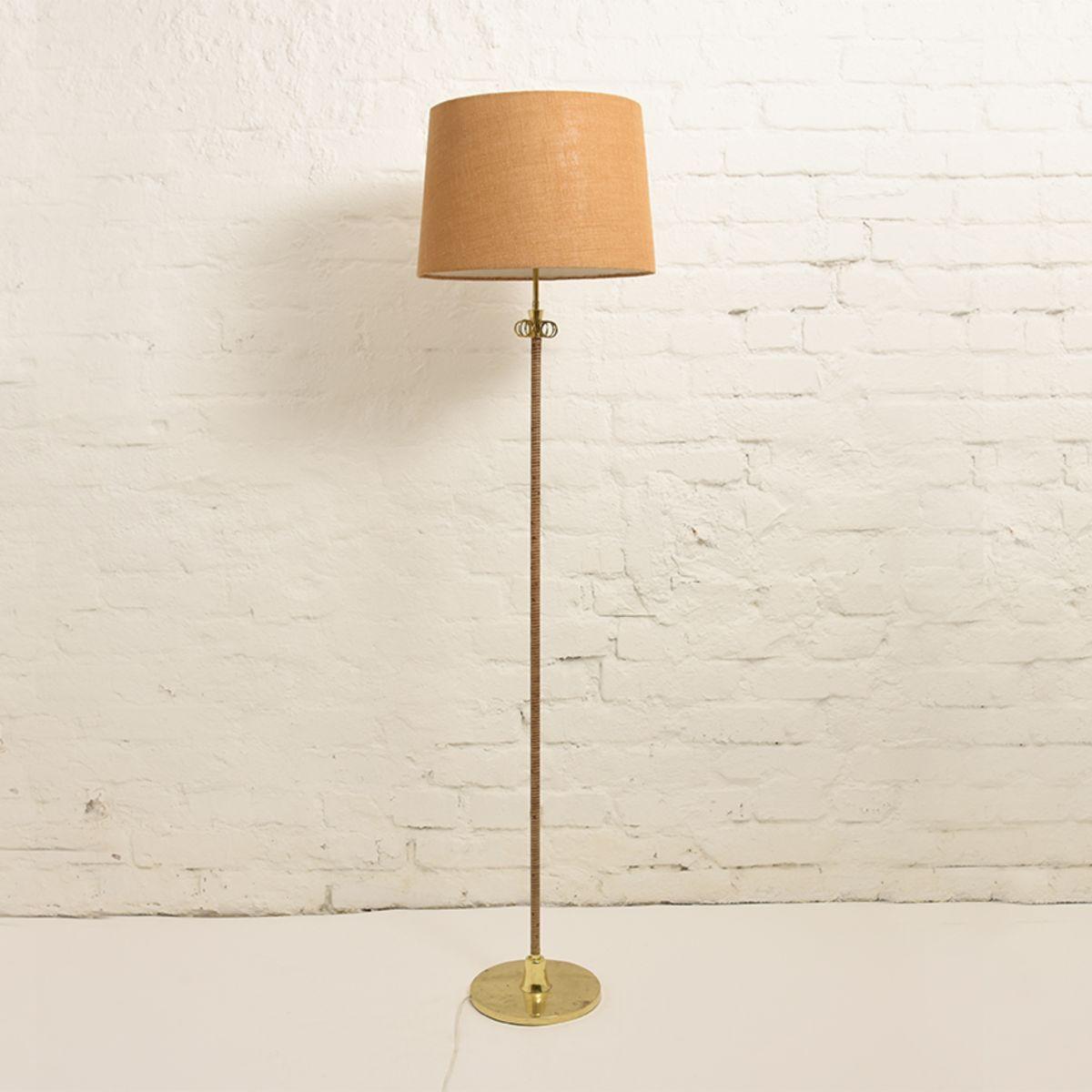 Itsu-Oy-Brass-Rattan-Floor-Lamp