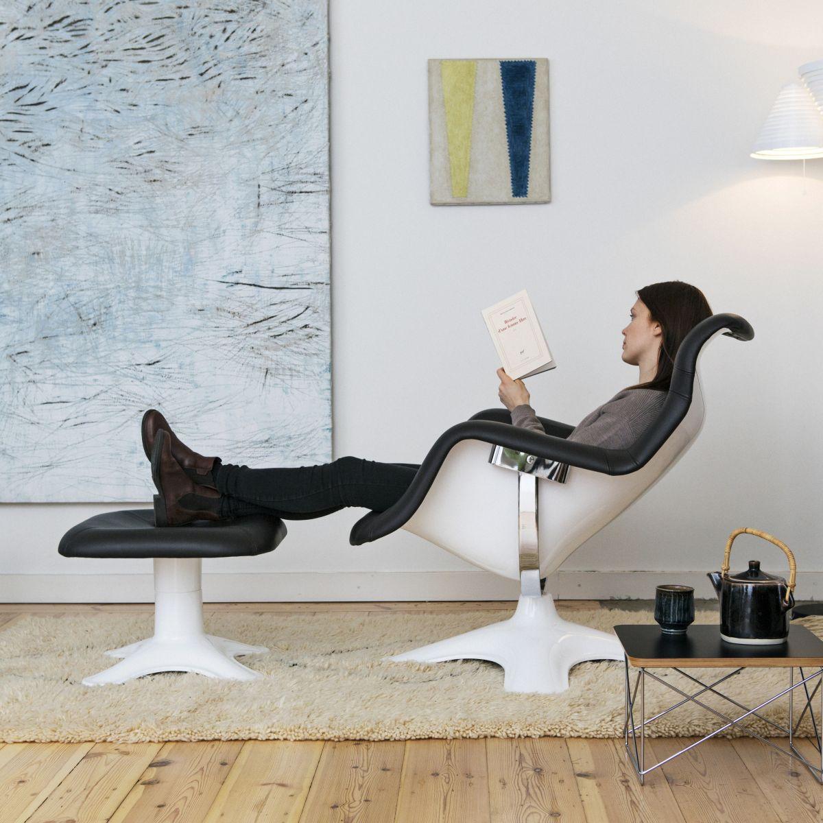 Karuselli Lounge Chair black leather Lukki Stool