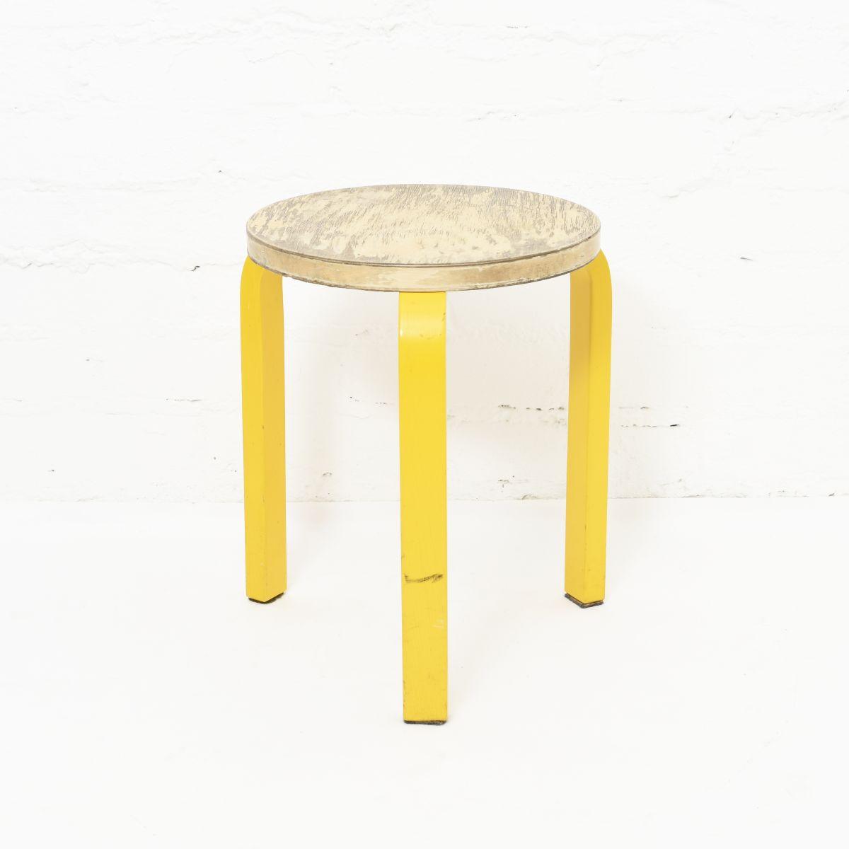 Aalto-Alvar-Stool60-Painted-Leg-Yellow