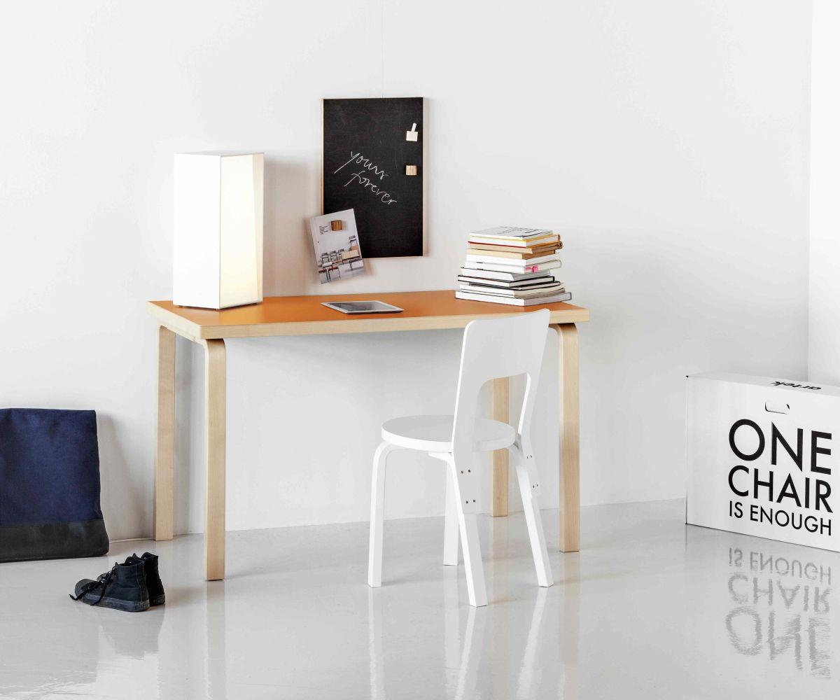 Aalto table rectangular 80A orange laminate chair 66_2