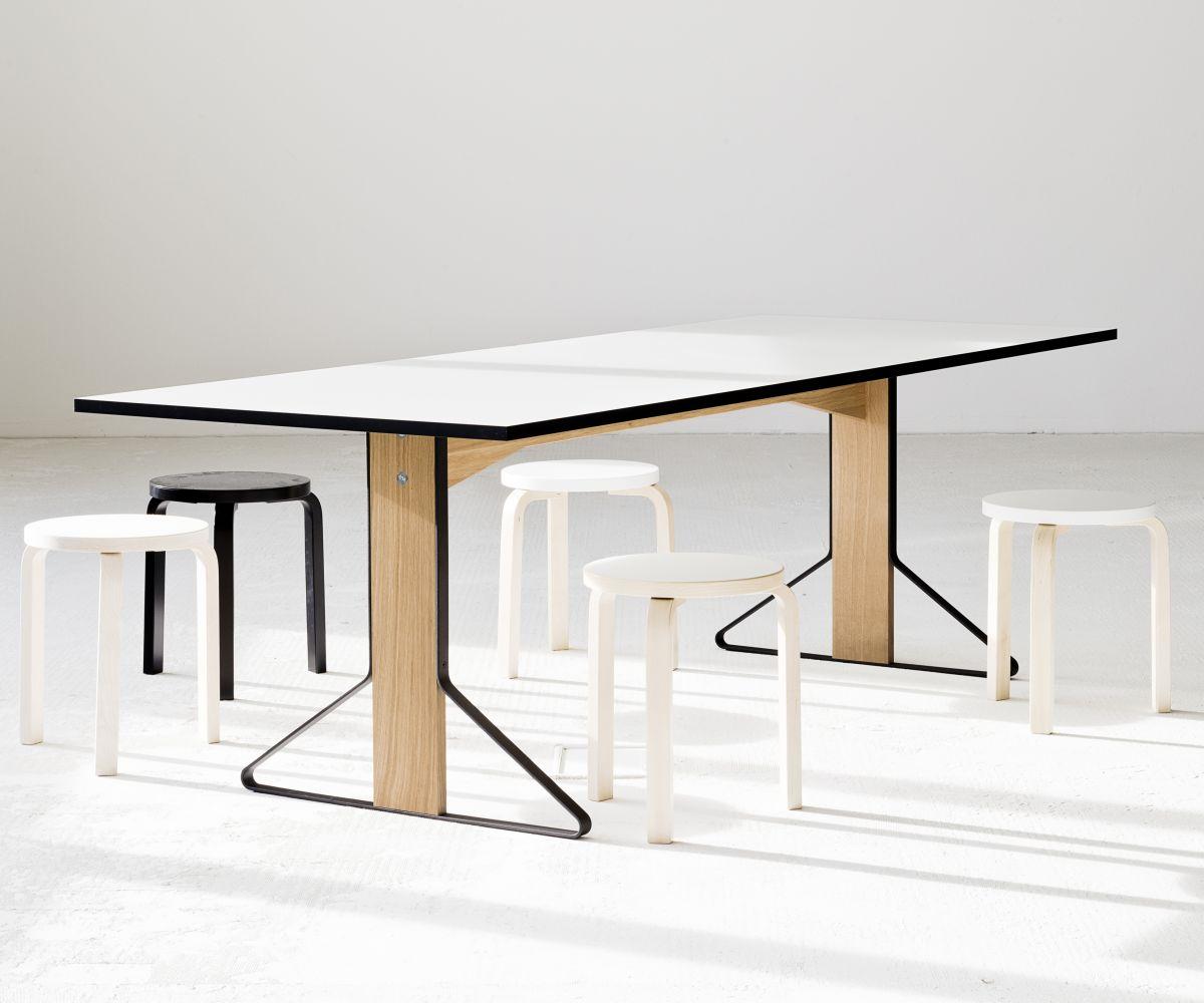 Kaari Table rectangular REB001 natural oak white HPL