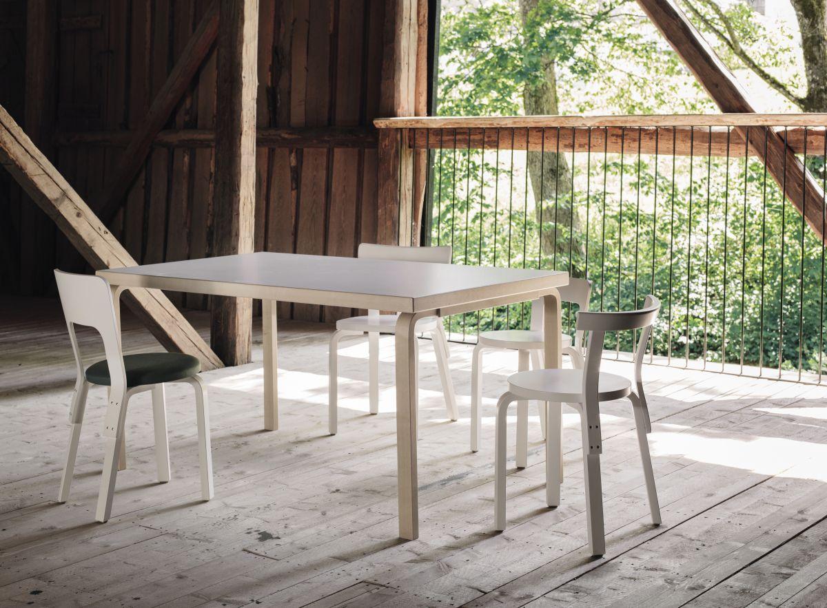 Aalto Table 82A rectangula birch Chair 65 Chair 68 Chair 66 Chair 69 white lacquered
