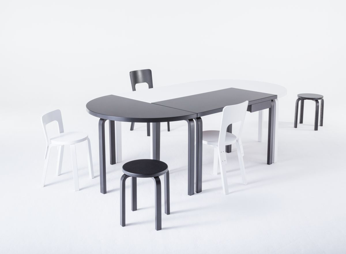 Aalto Table rectangular half-round Stool E60 Chair 65 black white lacquer