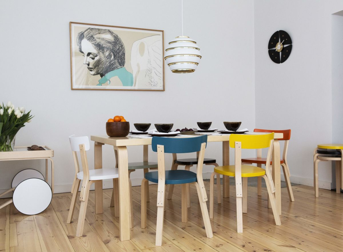 Aalto-Table-Rectanqular-82B-Chair-69-Tea-Trolley-900-Pendant-Light-A331-Beehive-Stool-60