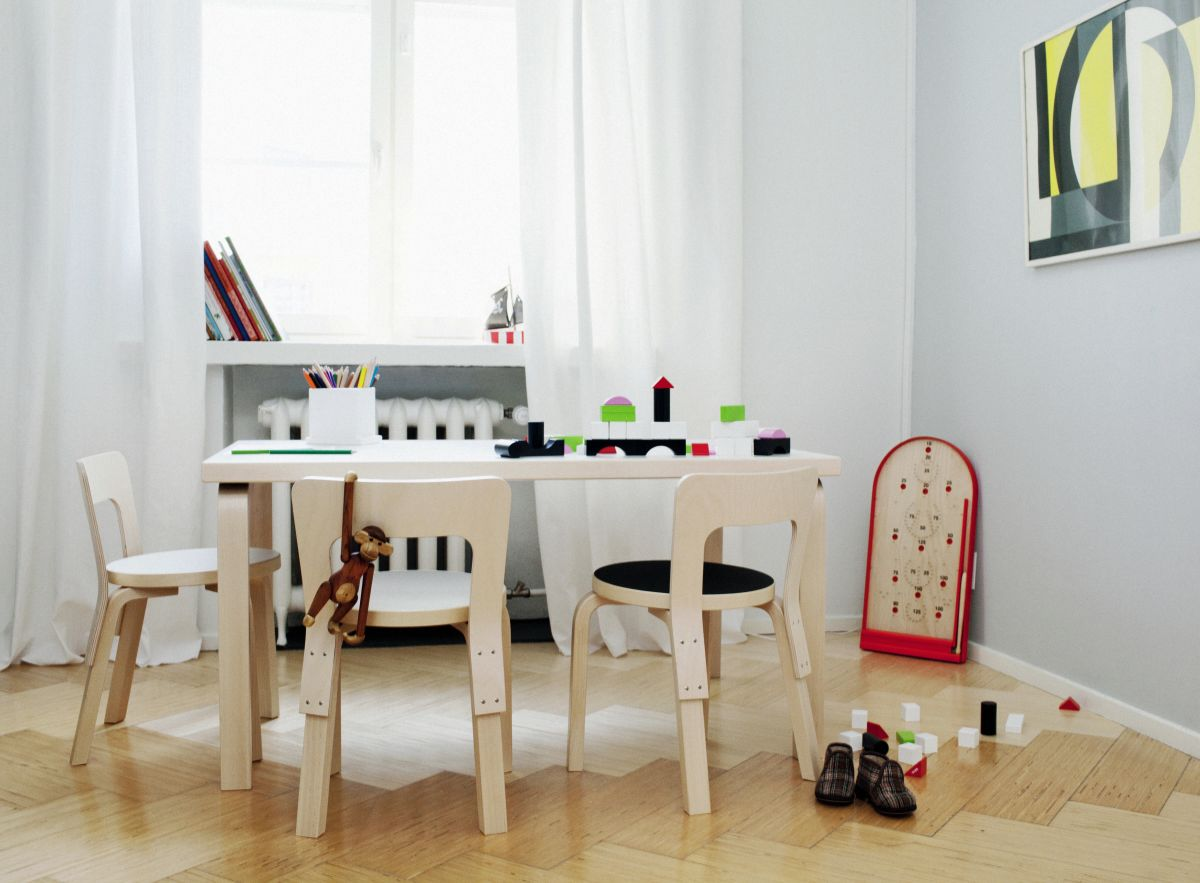 Children's Chair N65 and Aalto table 81B in situ
