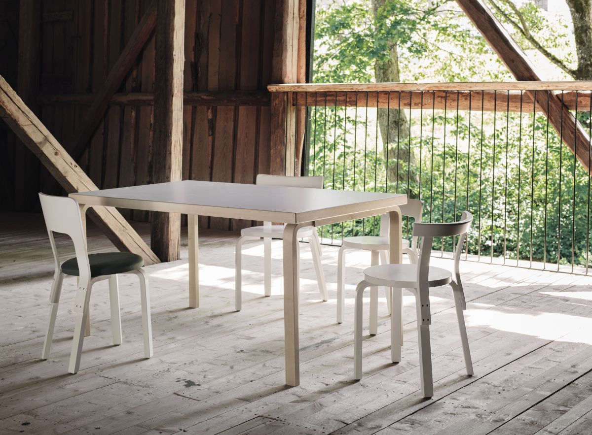Aalto Table 82A rectangula birch Chair 65 Chair 68 Chair 66 Chair 69 white lacquered