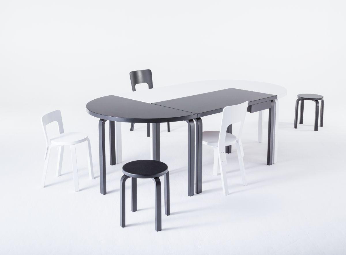 Aalto Table rectangular half-round Stool E60 Chair 65 black white lacquer