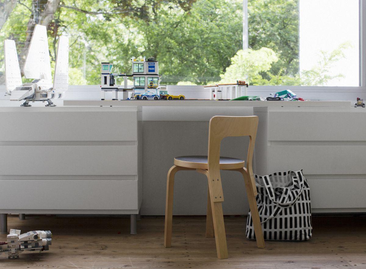 Siena Canvas Bag white / black Chair 65 clear lacquer
