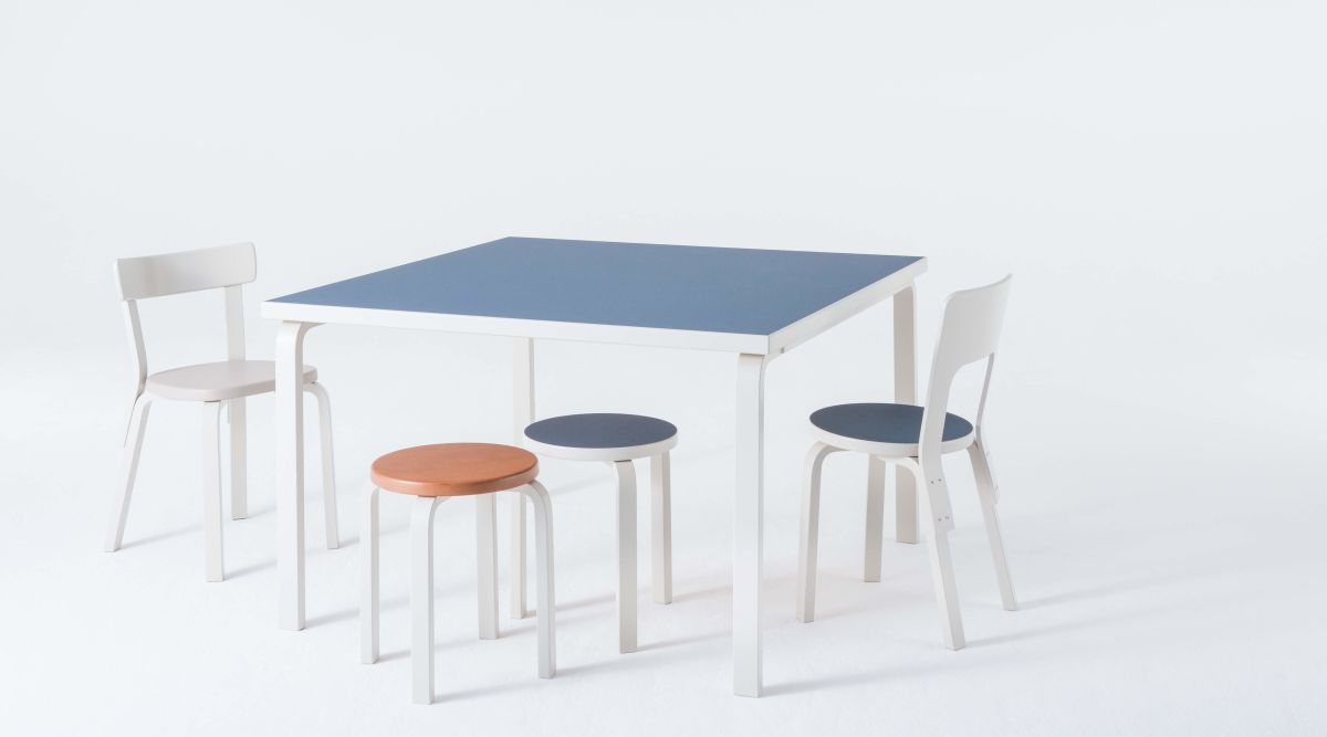 Aalto Table square 80A Chair 66 Chair 69 Stool 60 lacquered stone white