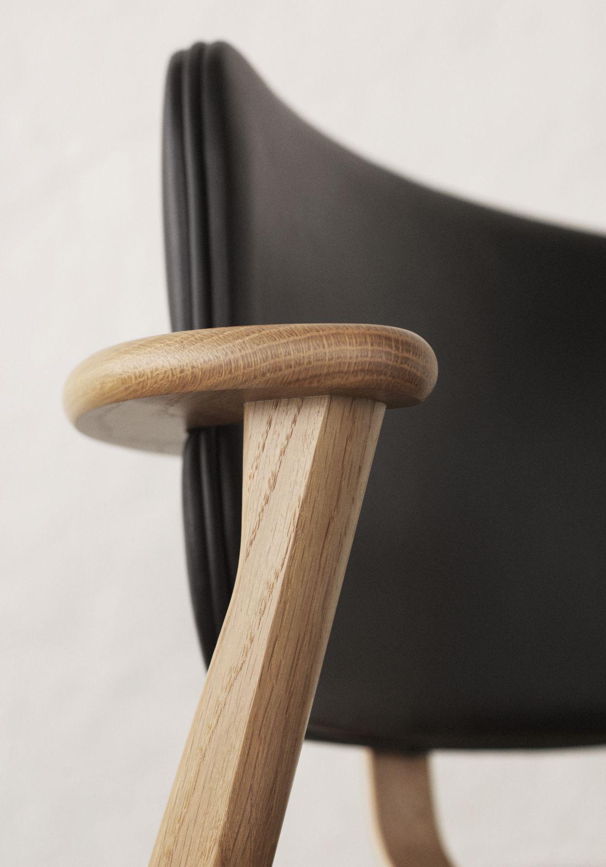 Domus Chair birch black leather upholstery - armrest detail