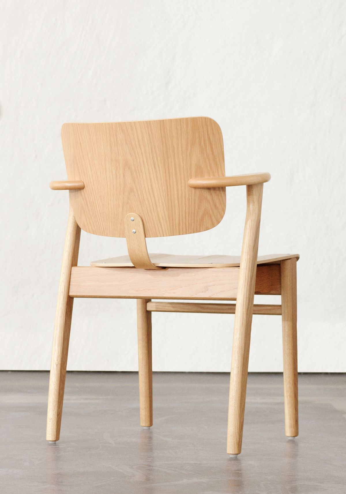 Domus Chair birch _and black leather upholstery - back and front_2