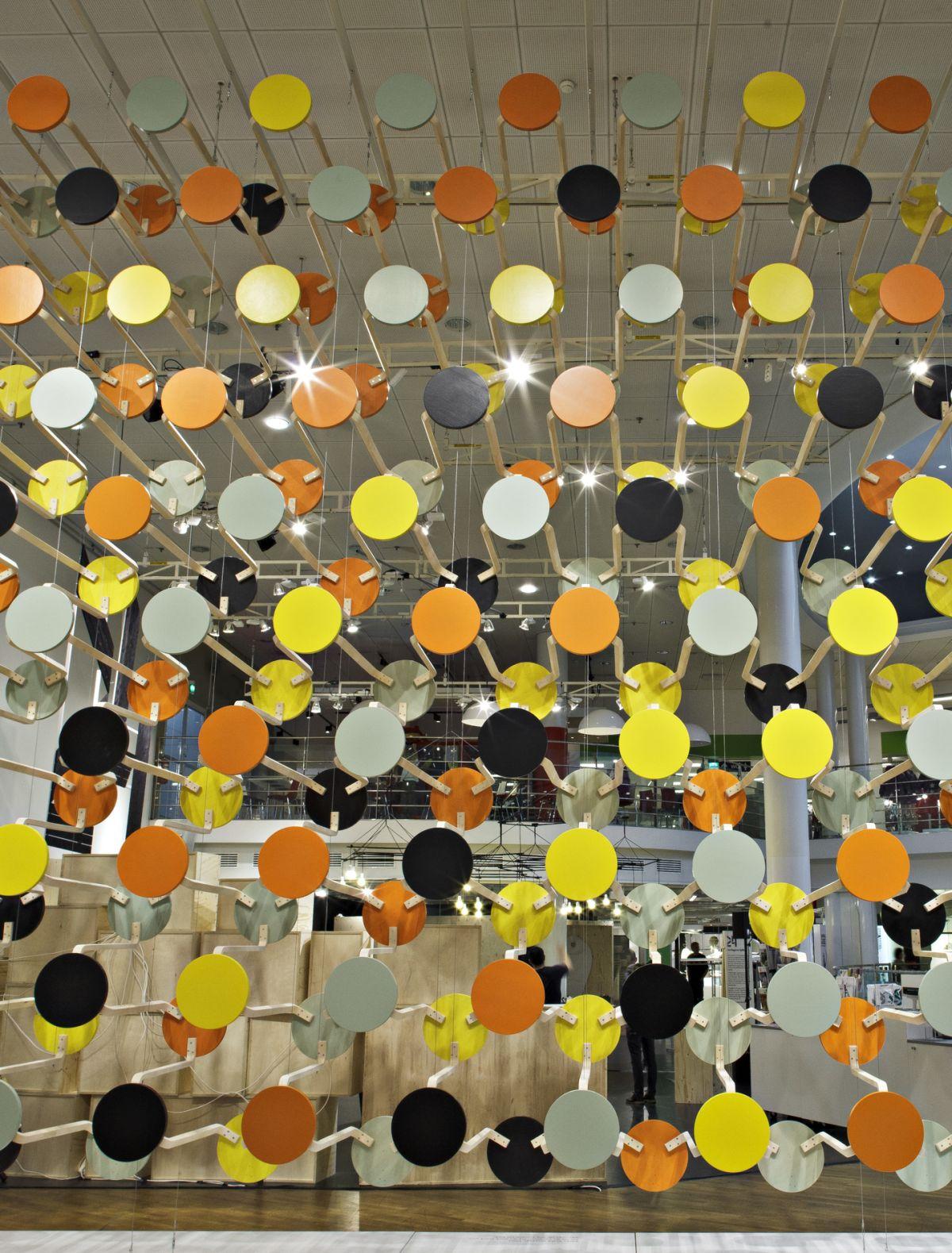 Artek_installation_Stool_60_Composition_by_Gronlund_Nisunen_photo_Rauno_Traskelin_front