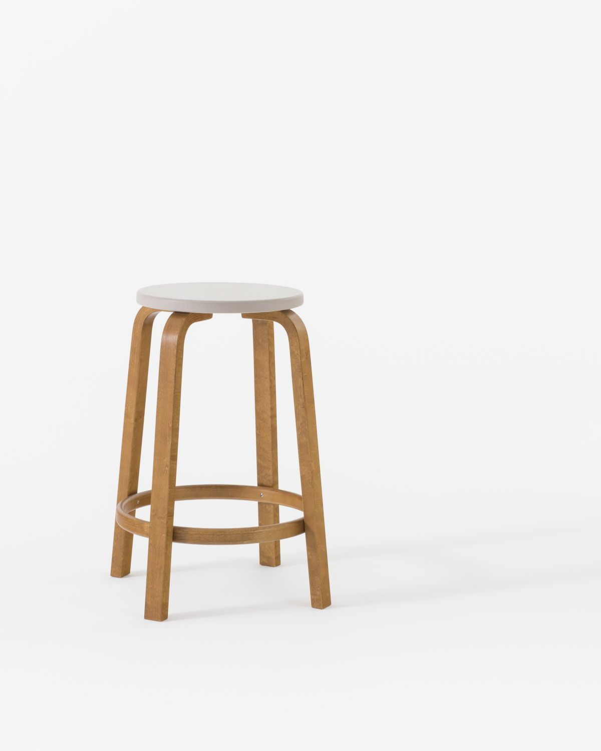 Bar Stool 64 Honey Stain Leather Seat