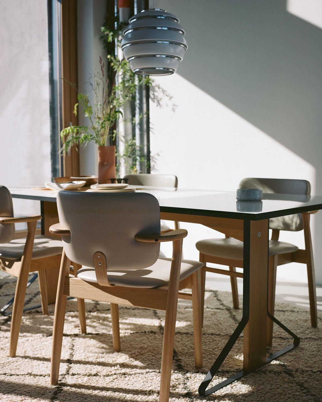 Domus_Chair_clear_oak_leather_upholstered_Kaari_Table_natural_varnished_oak