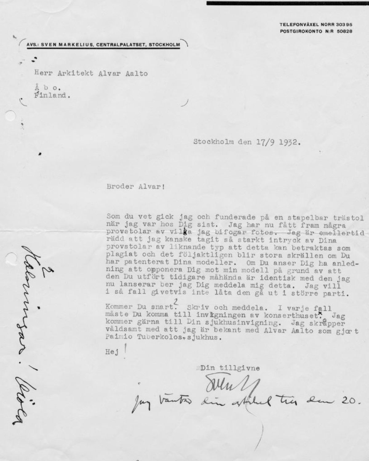 10314__Orchestra Chair_Markelius_letter_to_Aalto