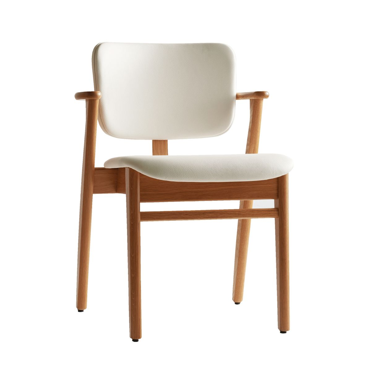 Domus Chair clear lacquer oak leather uphostery white_2