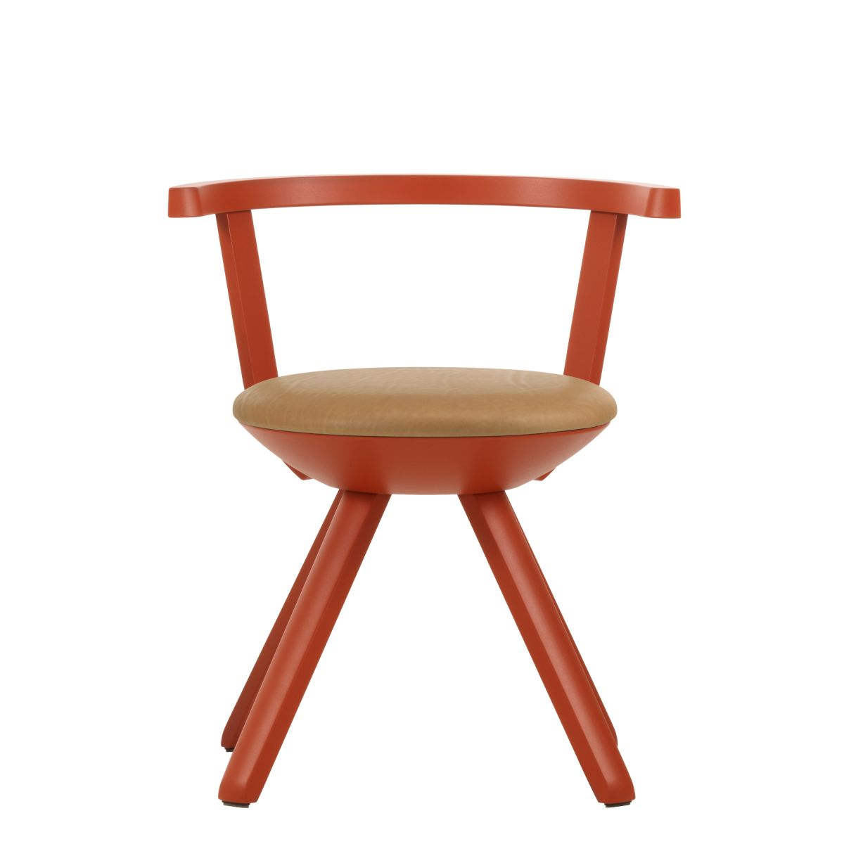 Rival Chair KG001 red lacquer caramel leather upholstery_WEB