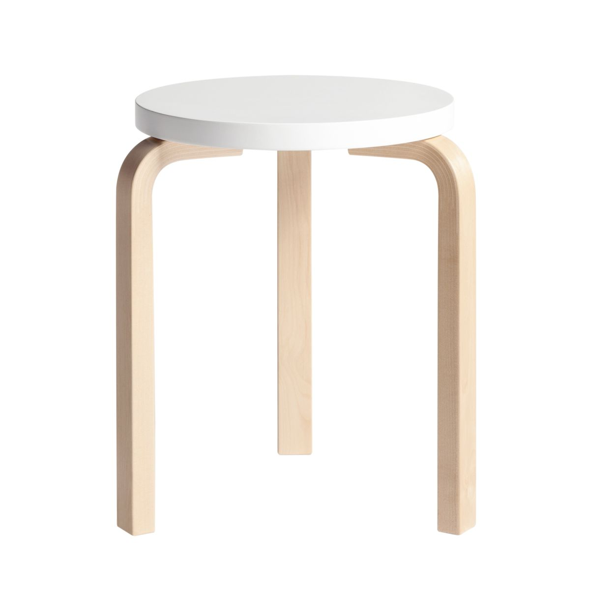 Stool 60 clear lacquer white top