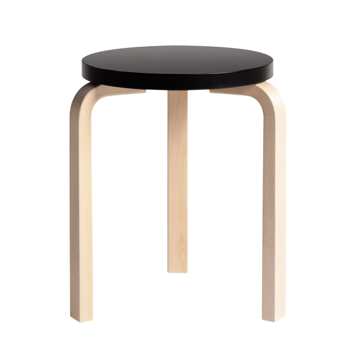 Stool 60 clear lacquer black top