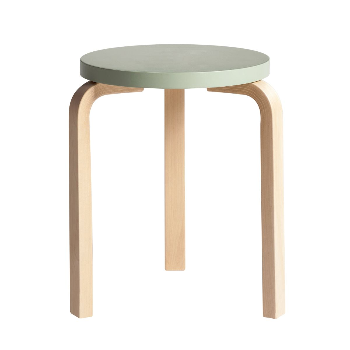 Stool 60 clear lacquer green top