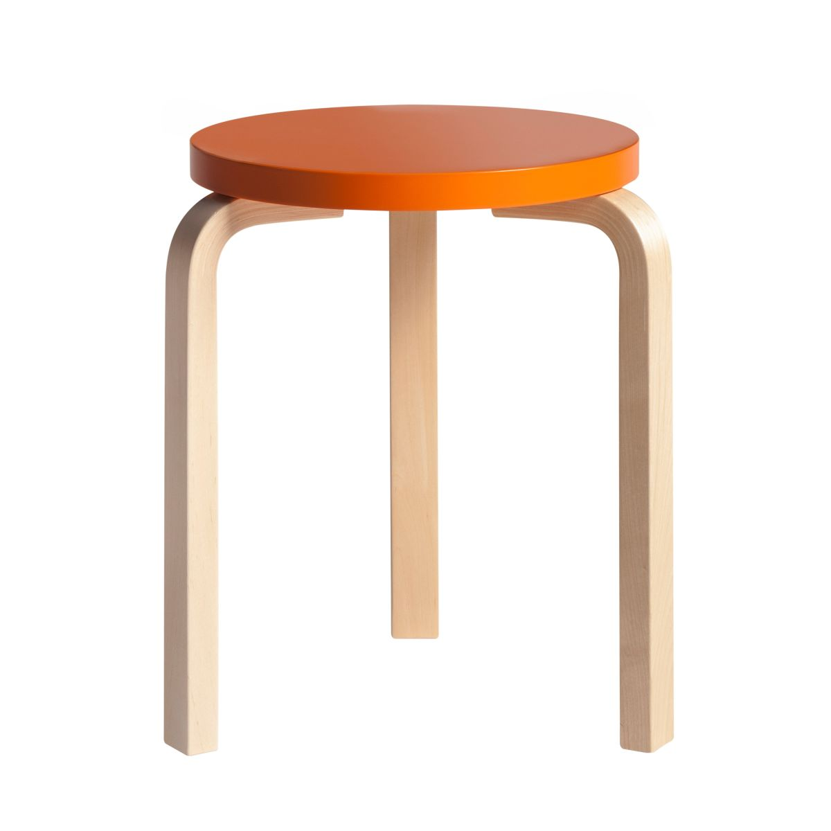 Stool 60 clear lacquer orange top
