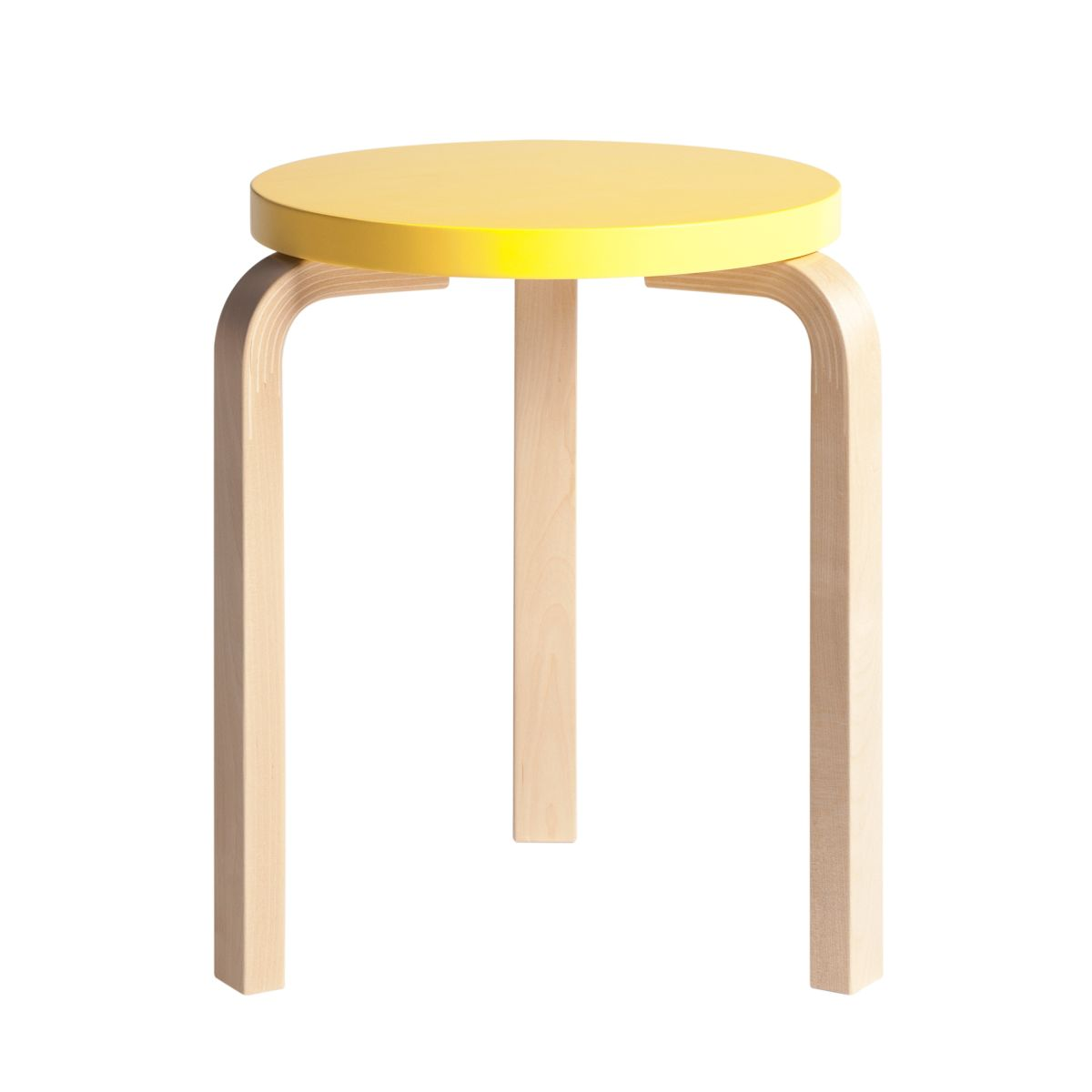 Stool 60 clear lacquer yellow top
