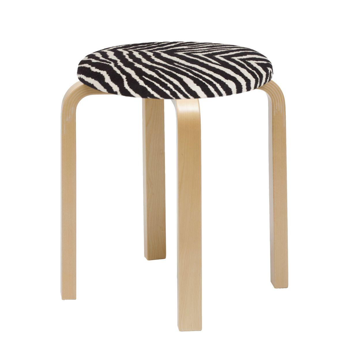 Stool E60 birch, Zebra upholstered seat