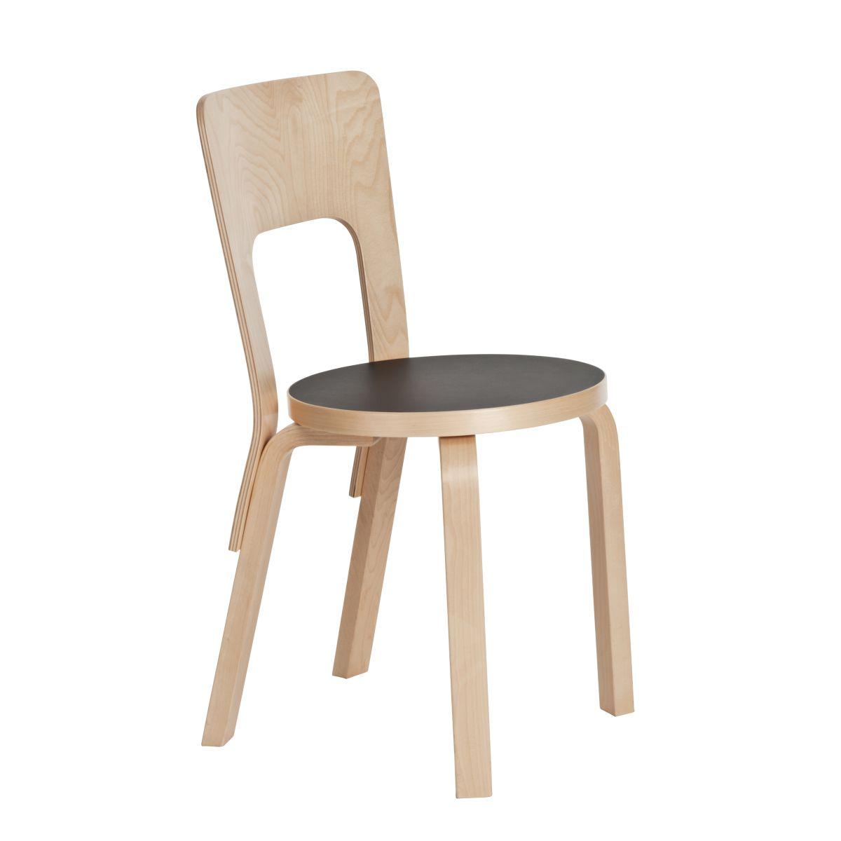 Chair 66 clear lacquer black linoleum