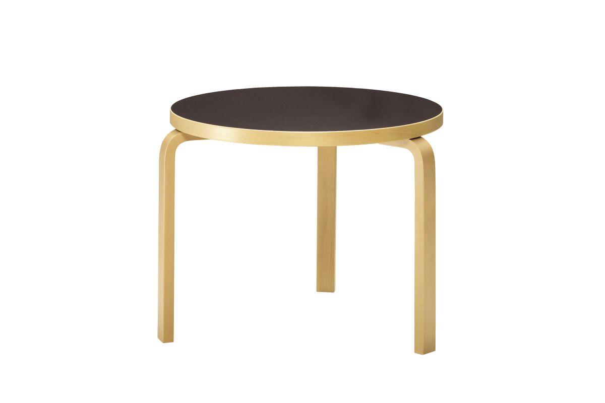 Aalto Table round 90B black linoleum