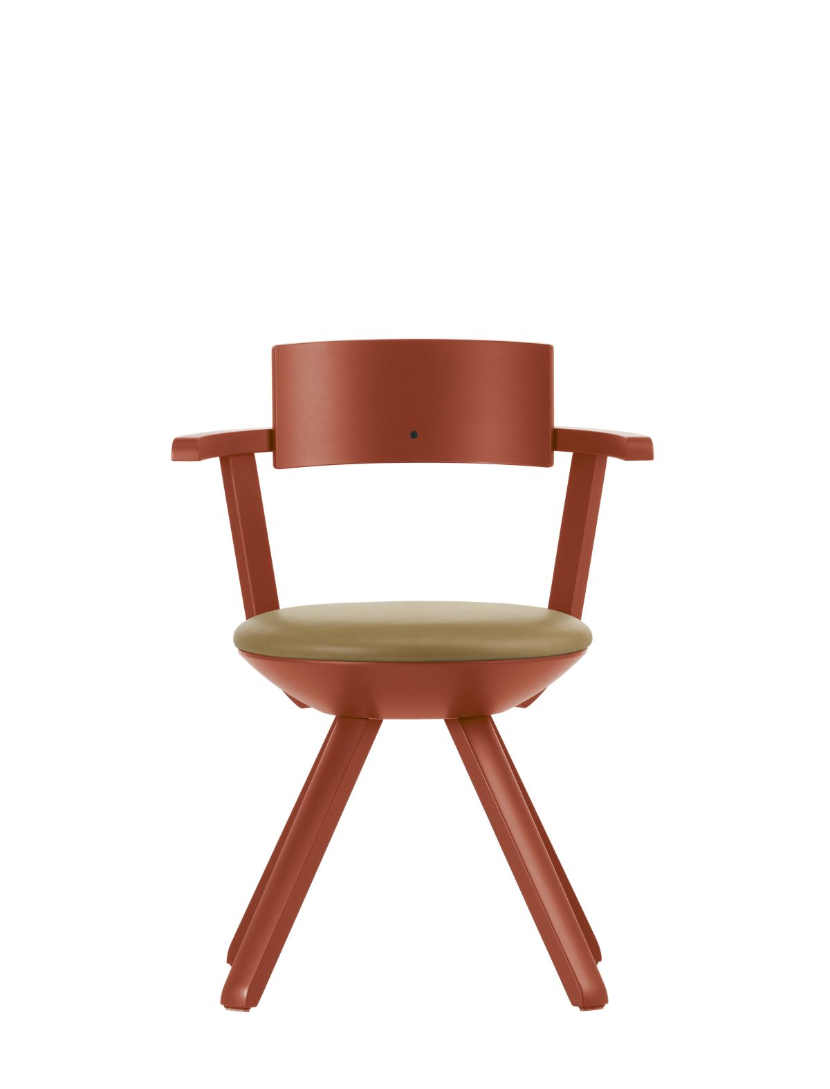 Rival-Chair-Kg002-Red-Lacquer-Caramel-Leather-Upholstery