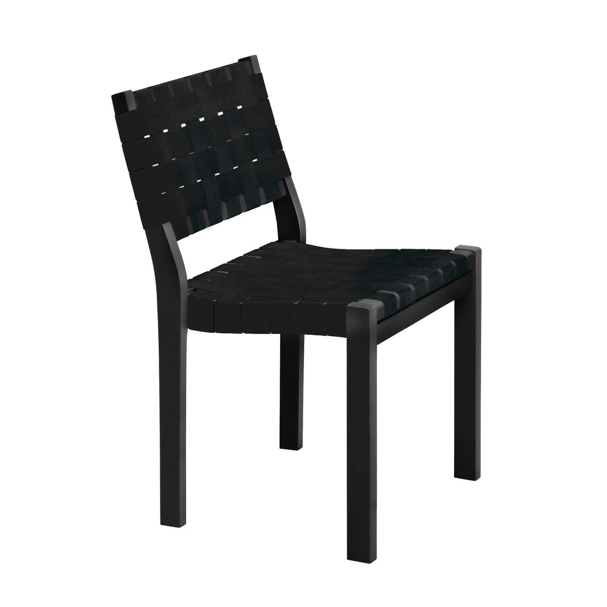 Chair 611 black lacquer black webbing