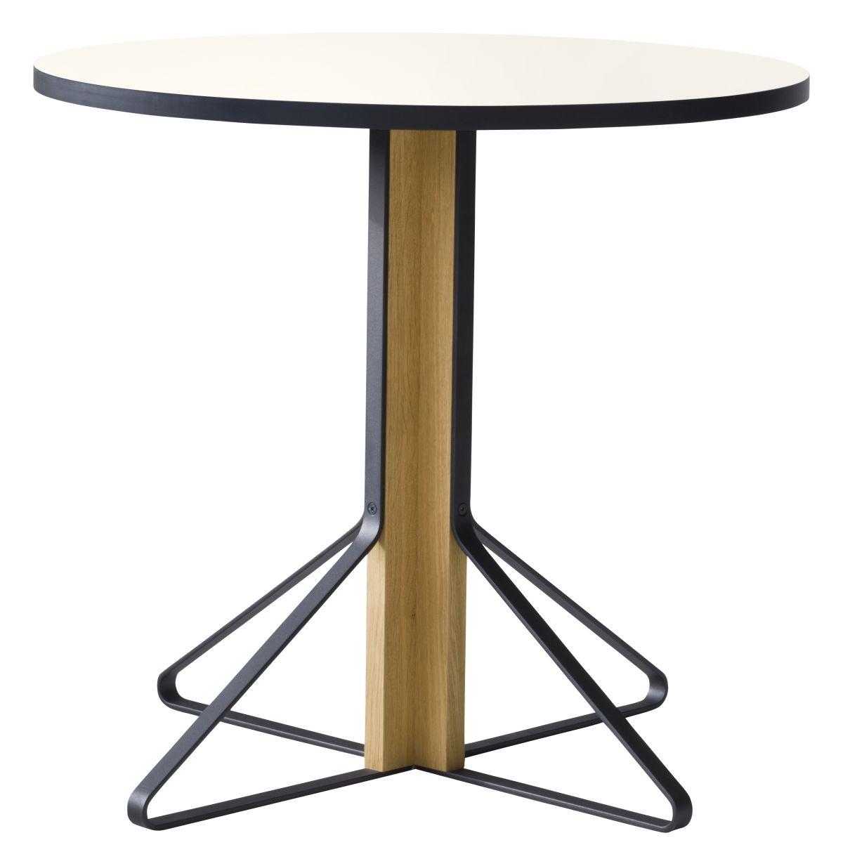 Kaari Table round REB003 natural oak white HPL