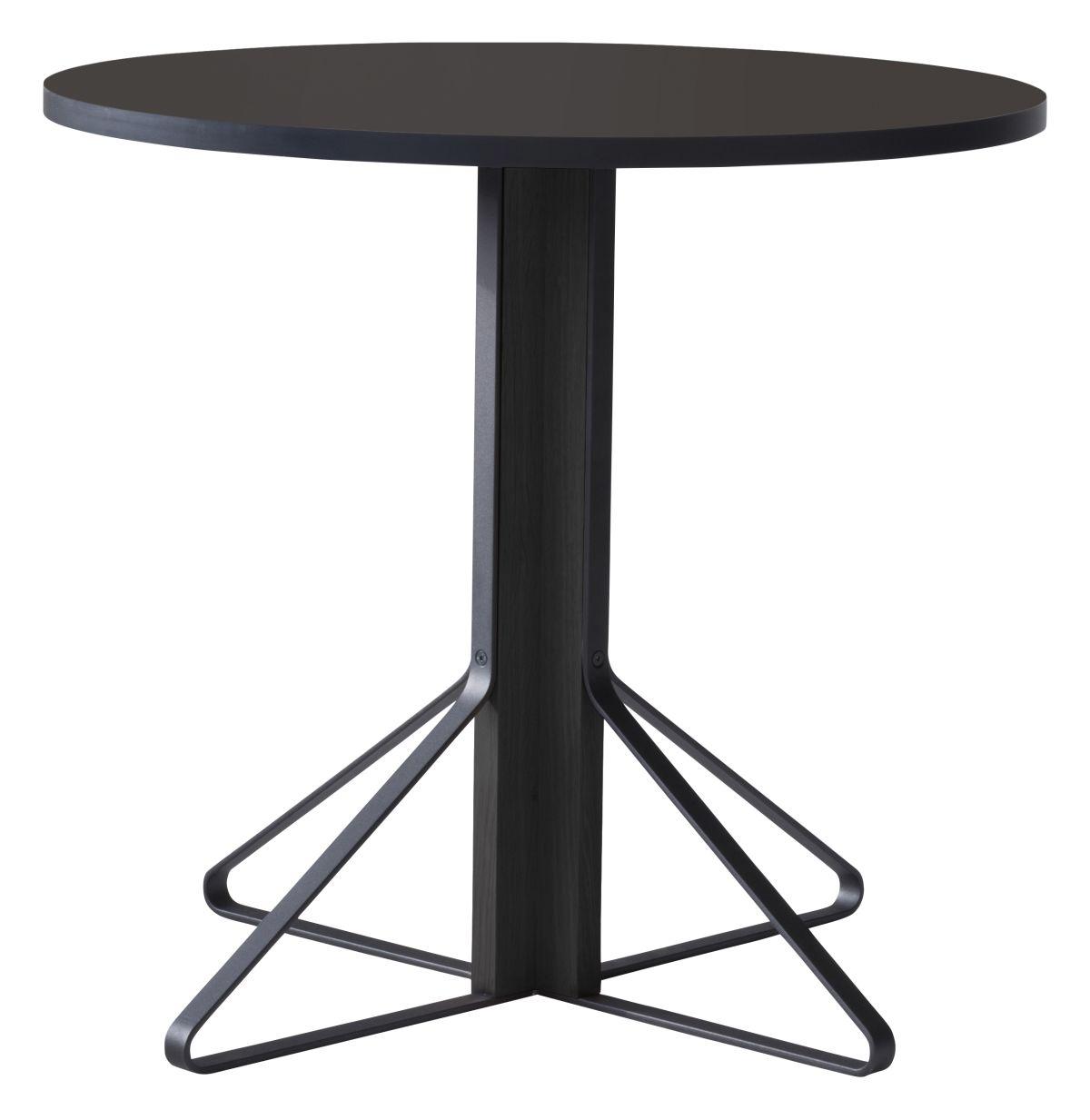 Kaari Table round REB003 black oak black Linoleum