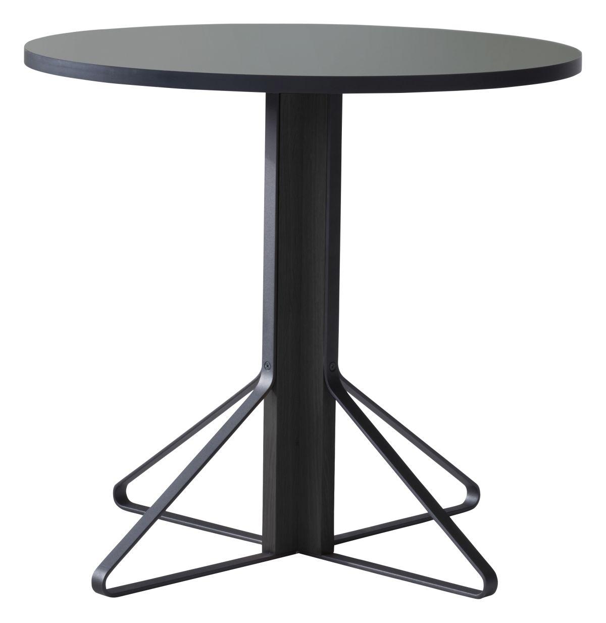 Kaari Table round REB003 black oak lightgrey Linoleum