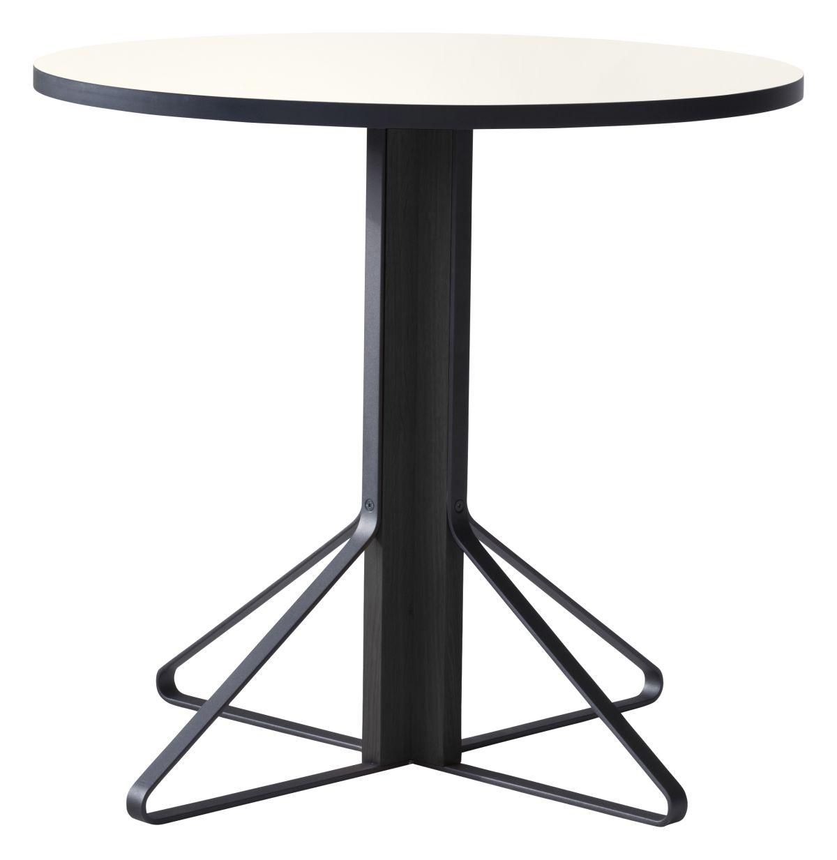 Kaari Table round REB003 black oak white HPL