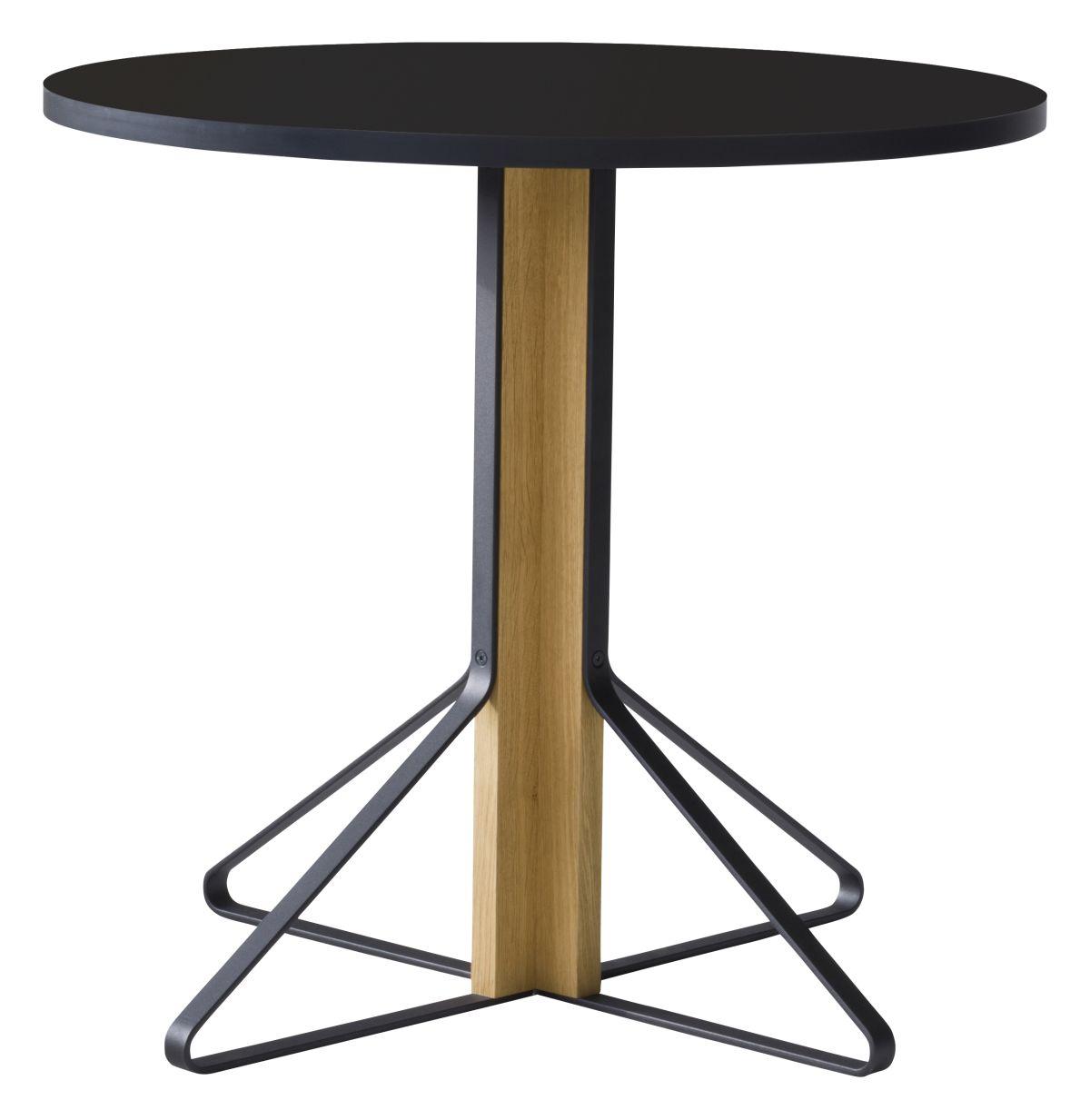 Kaari Table round REB003 natural oak black HPL