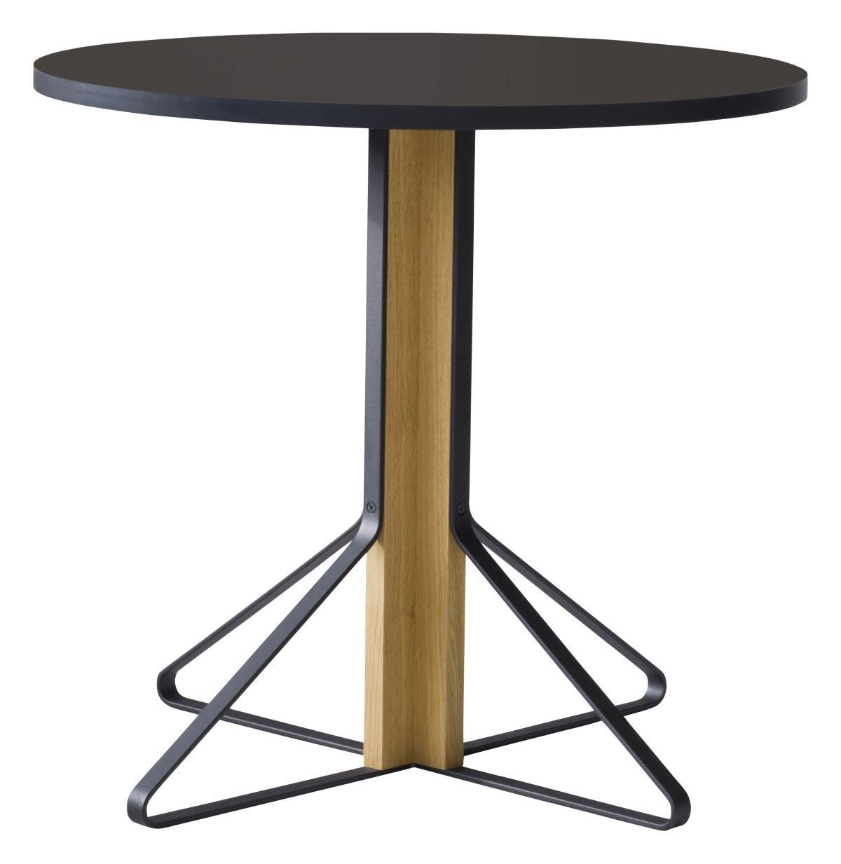 Kaari Table round REB003 natural oak black Linoleum