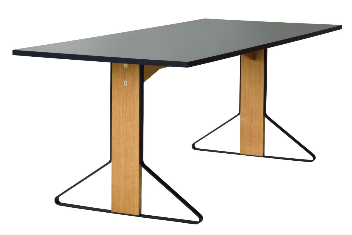 Kaari Table rectangular REB001 natural oak lightgrey Linoleum